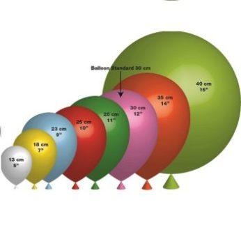 Les tailles des ballons de baudruche personnalisés